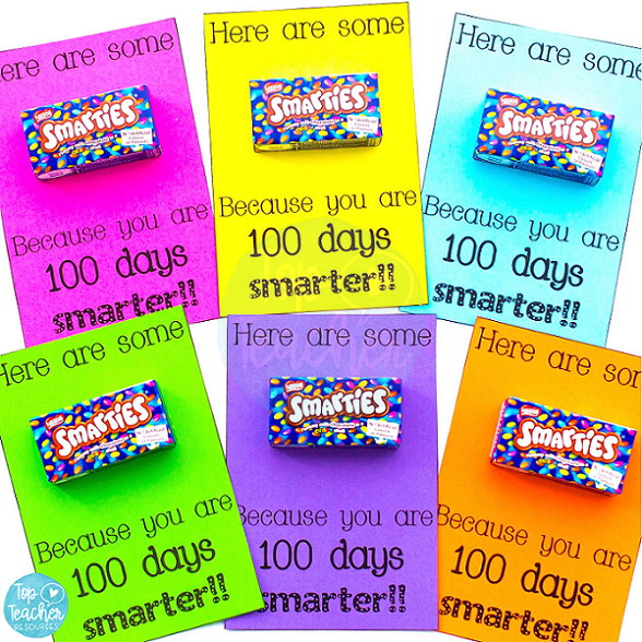 100 days of school smarties tag